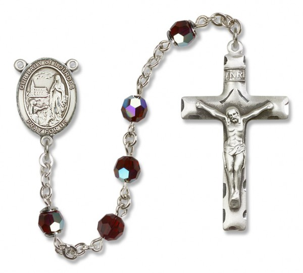 Our Lady of Lourdes Sterling Silver Heirloom Rosary Squared Crucifix - Garnet