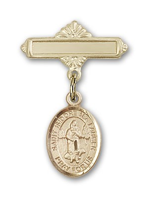 Pin Badge with St. Isidore the Farmer Charm and Polished Engravable Badge Pin - 14K Yellow Gold