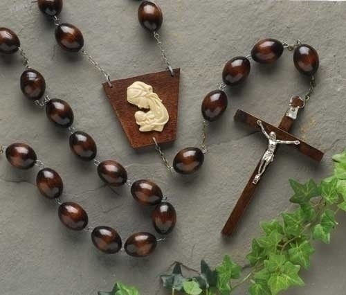 Dark Brown Wood Wall Rosary - 60 inch - Brown