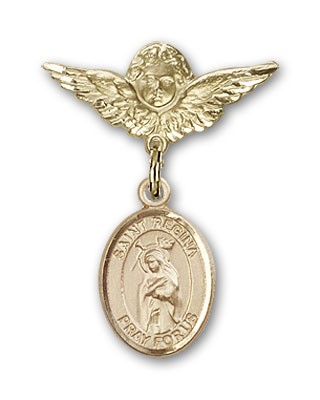 Pin Badge with St. Regina Charm and Angel with Smaller Wings Badge Pin - 14K Yellow Gold
