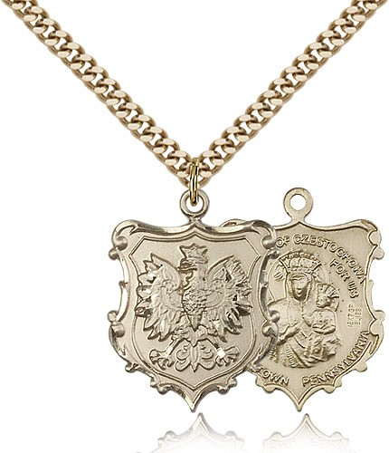 Our Lady of Czestochowa Poland Medal - 14KT Gold Filled