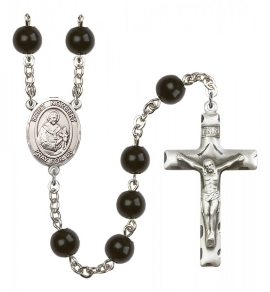 Men's St. Norbert of Xanten Silver Plated Rosary - Black