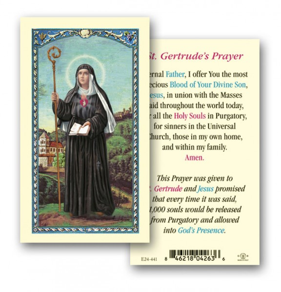 St. Gertrude Laminated Prayer Cards 25 Pack - Full Color