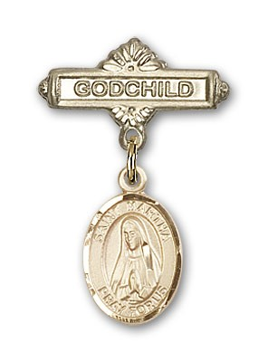 Pin Badge with St. Martha Charm and Godchild Badge Pin - 14K Solid Gold