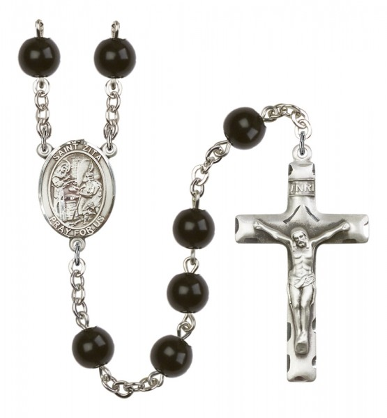 Men's St. Zita Silver Plated Rosary - Black