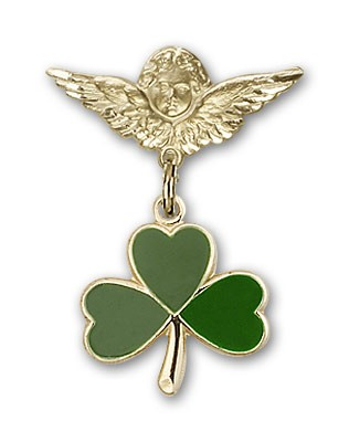 Pin Badge with Shamrock Charm and Angel with Smaller Wings Badge Pin - Gold Tone