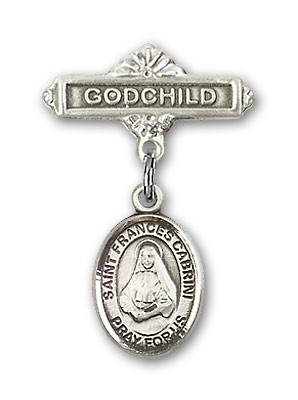 Pin Badge with St. Frances Cabrini Charm and Godchild Badge Pin - Silver tone