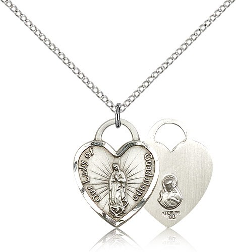 Our Lady of Guadalupe with Heart Medal - Sterling Silver