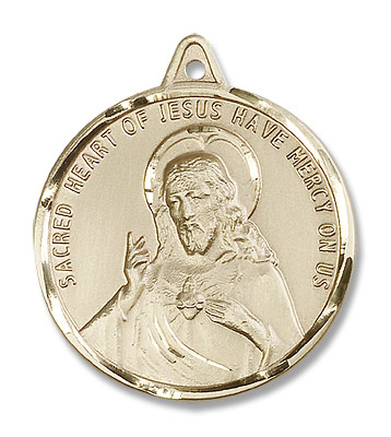 Men's Round Scapular Medal with Etched Border - 14K Yellow Gold