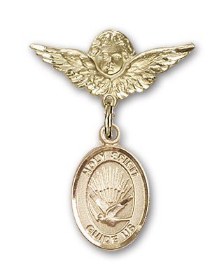 Pin Badge with Holy Spirit Charm and Angel with Smaller Wings Badge Pin - 14K Solid Gold
