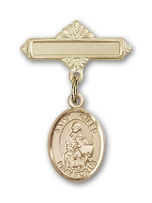 Pin Badge with St. Giles Charm and Polished Engravable Badge Pin - Gold Tone