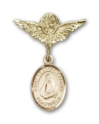 Pin Badge with St. Frances Cabrini Charm and Angel with Smaller Wings Badge Pin - 14K Solid Gold