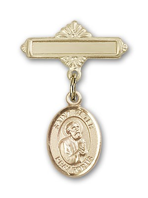 Pin Badge with St. Peter the Apostle Charm and Polished Engravable Badge Pin - 14K Yellow Gold