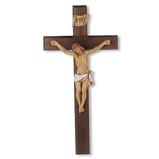 Hand-Painted Corpus Dark Cherry Wall Crucifix - 13 inch - Cherry Wood