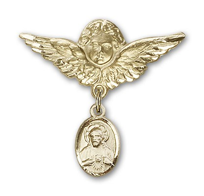 Baby Pin with Scapular Charm and Angel with Larger Wings Badge Pin - 14K Yellow Gold
