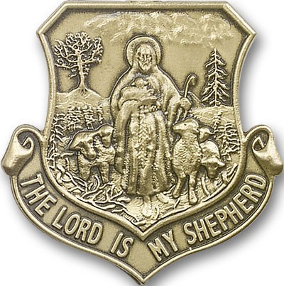 Lord Is My Shepherd Visor Clip - Antique Gold