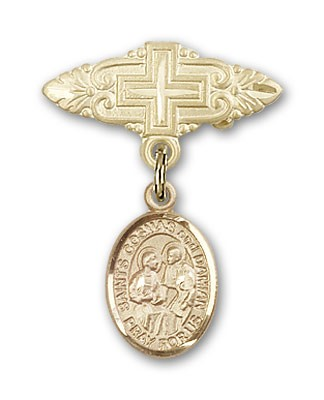 Pin Badge with Sts. Cosmas & Damian Charm and Badge Pin with Cross - Gold Tone