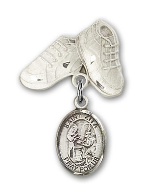 Pin Badge with St. Zita Charm and Baby Boots Pin - Silver tone