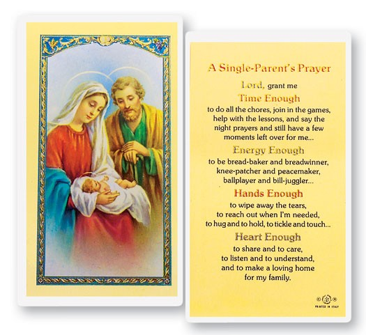 A Single Parents Laminated Prayer Cards 25 Pack - Full Color