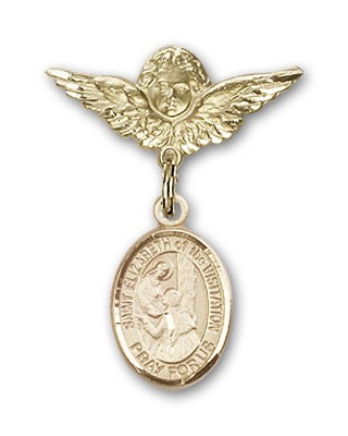 Pin Badge with St. Elizabeth of the Visitation Charm and Angel with Smaller Wings Badge Pin - 14K Yellow Gold