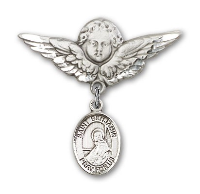 Pin Badge with St. Benjamin Charm and Angel with Larger Wings Badge Pin - Silver tone