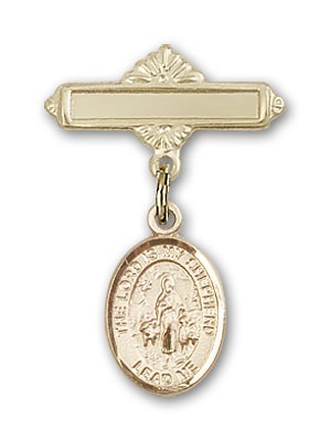 Pin Badge with Lord Is My Shepherd Charm and Polished Engravable Badge Pin - Gold Tone