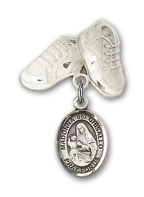 Pin Badge with St. Madonna Del Ghisallo Charm and Baby Boots Pin - Silver tone