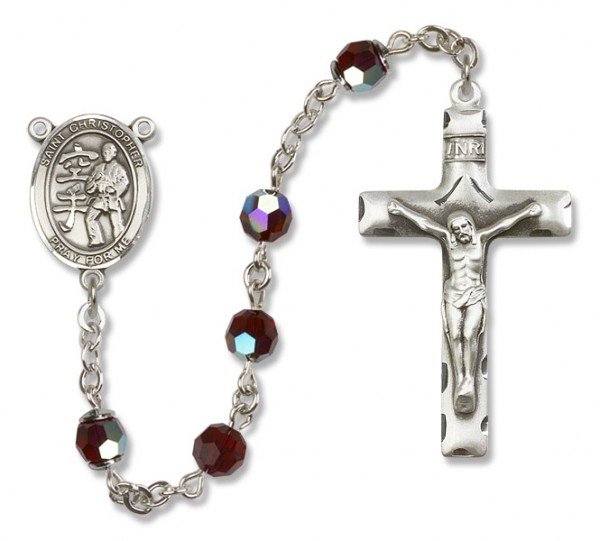 St. Christopher Karate Rosary Heirloom Squared Crucifix - Garnet