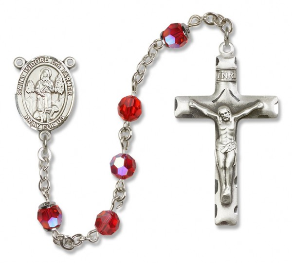 St. Isidore the Farmer Sterling Silver Heirloom Rosary Squared Crucifix - Ruby Red