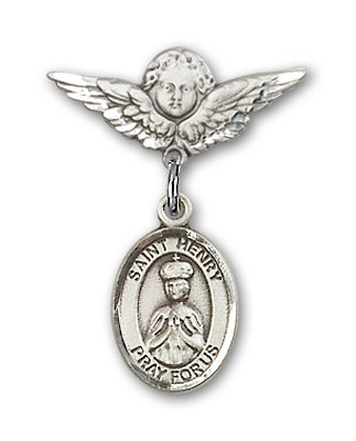 Pin Badge with St. Henry II Charm and Angel with Smaller Wings Badge Pin - Silver tone