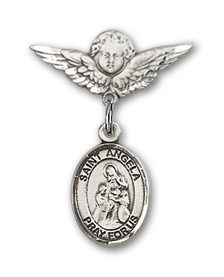 Pin Badge with St. Angela Merici Charm and Angel with Smaller Wings Badge Pin - Silver tone