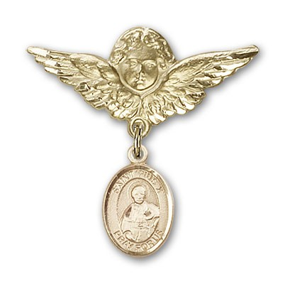 Pin Badge with St. Pius X Charm and Angel with Larger Wings Badge Pin - 14K Solid Gold