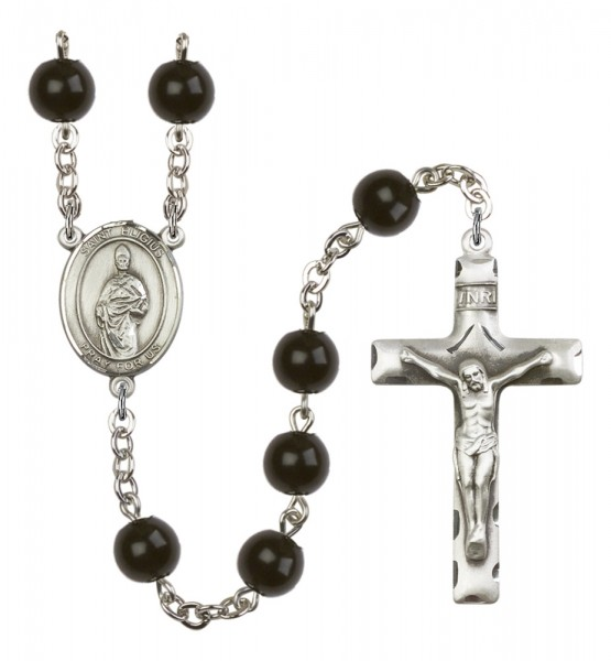 Men's St. Eligius Silver Plated Rosary - Black