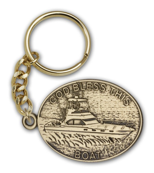 God Bless This Boat Keychain - Antique Gold