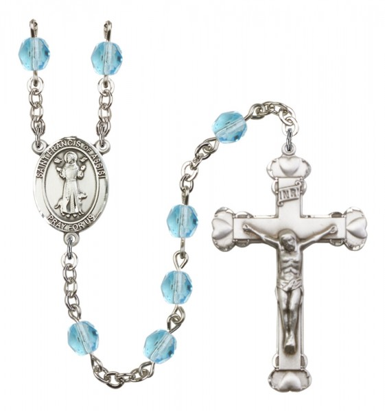 Women's St. Francis of Assisi Birthstone Rosary - Aqua