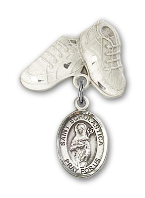 Pin Badge with St. Scholastica Charm and Baby Boots Pin - Silver tone