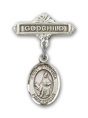 Pin Badge with St. Dymphna Charm and Godchild Badge Pin - Silver tone