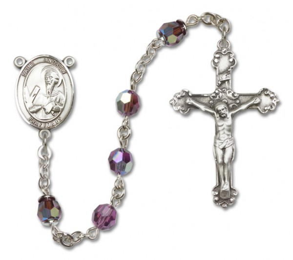 St. Andrew the Apostle Sterling Silver Heirloom Rosary Fancy Crucifix - Amethyst