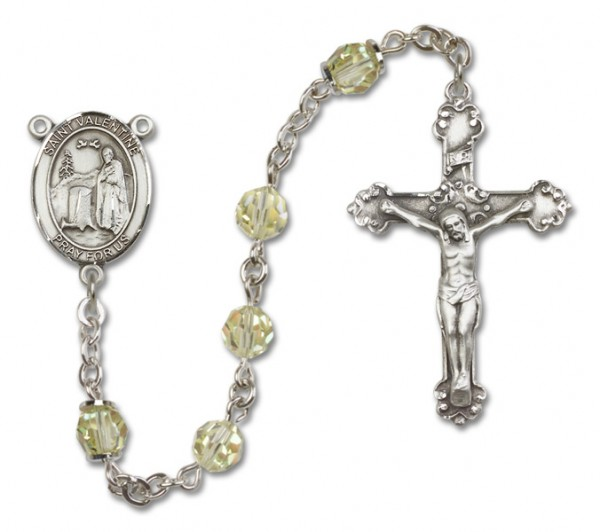St. Valentine of Rome Rosary Heirloom Fancy Crucifix - Jonquil