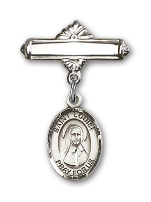 Pin Badge with St. Louise de Marillac Charm and Polished Engravable Badge Pin - Silver tone