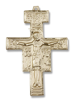 Men's San Damiano Cross Pendant - 14K Yellow Gold
