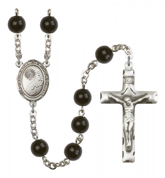 Men's Footprints Cross Silver Plated Rosary - Black