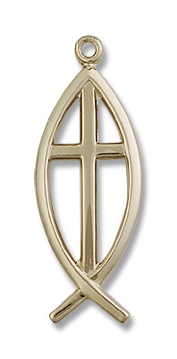 Men's Ichthus Fish with Cross Pendant - 14KT Gold Filled