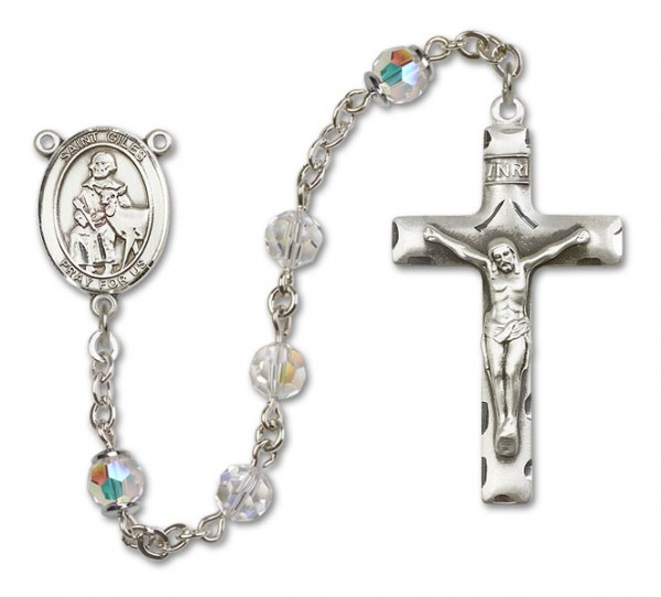 St. Giles Sterling Silver Heirloom Rosary Squared Crucifix - Crystal