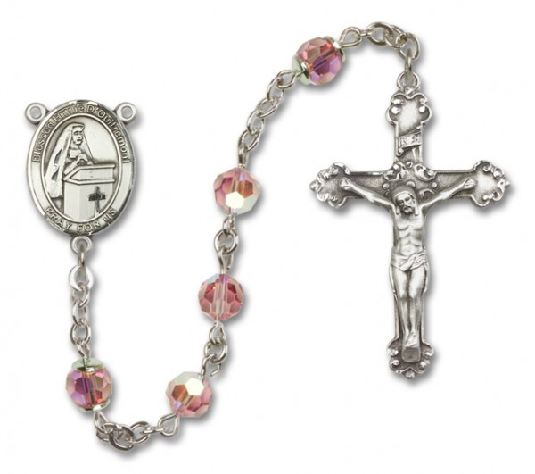 Emilee Doultremont Sterling Silver Heirloom Rosary Fancy Crucifix - Light Rose