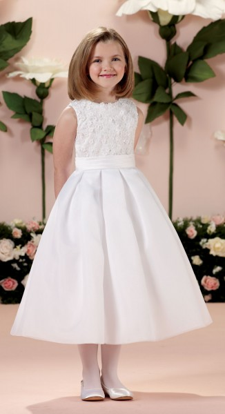 First Communion Dress with Satin and Organza Flower Accents - White