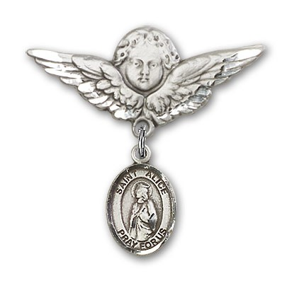 Pin Badge with St. Alice Charm and Angel with Larger Wings Badge Pin - Silver tone
