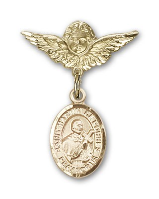 Pin Badge with St. Martin de Porres Charm and Angel with Smaller Wings Badge Pin - 14K Yellow Gold