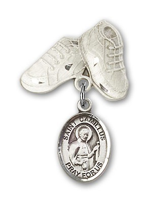 Pin Badge with St. Camillus of Lellis Charm and Baby Boots Pin - Silver tone
