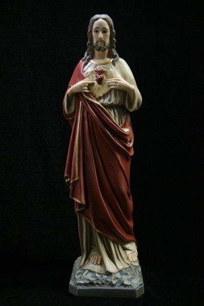 Sacred Heart Statue, Hand Painted - 33.5 inch - Full Color